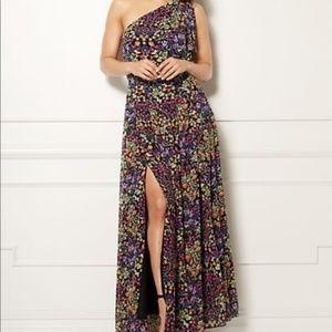 Eva Mendes Floral Maxi One Shoulder Dress Medium